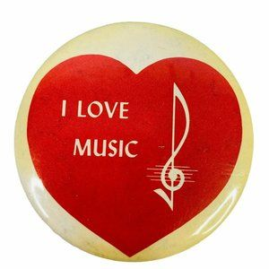 Vintage Pinback Button Pin I Love Music Note